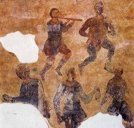 Αναπαράσταση μουσικών και χορευτών Τοιχογραφία, Ναός Αγίας Σοφίας, Ουκρανία, Κίεβο (Φωτογραφικό Αρχείο ΕΚΒΜΜ).