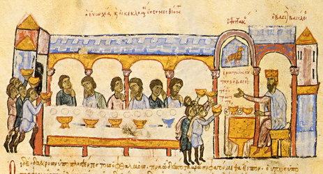 Αναπαράσταση βυζαντινού παλατιού, Μικρογραφία σε χειρόγραφο (Σύνοψις Ιστοριών Ιωάννου Σκυλίτζη, Ισπανία, Μαδρίτη, Εθνική Βιβλιοθήκη).