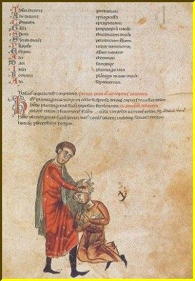 Εικονογραφημένη σελίδα από ένα ιταλικό βοτανολόγιο του 13ου αιώνα. Ο γιατρός εφαρμόζει ένα ματσάκι με βότανα στο κεφάλι του ασθενούς για τη θεραπεία των πονοκεφάλων.