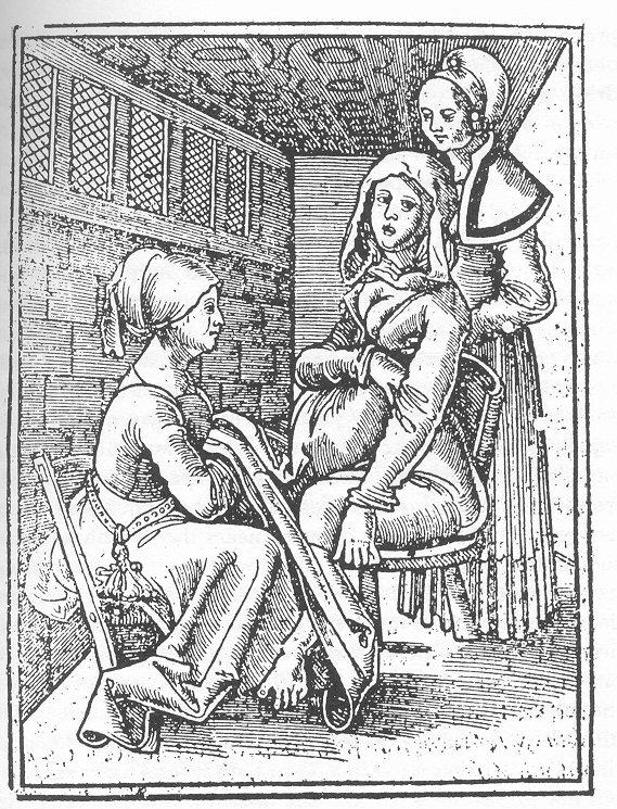 Ξυλογραφία που απεικονίζει μια γυναίκα που γεννά με τη βοήθεια δύο μαιών. Der Swangern Frawen und he bammen roszgarten, του Eucharius Rosslin, 1513.