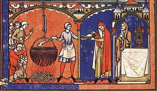 Έγχρωμη αναπαράσταση της προετοιμασίας φαγητού για τους χριστιανούς μοναχούς.