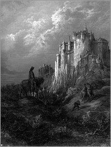 Κάμελοτ, εικονογράφηση του Γκυστάβ Ντορέ, 1868. Ο Γκυστάβ Ντορέ (Gustave Doré), 1832- 1883, ήταν Αλσατός ζωγράφος, γλύπτης και χαράκτης, που διακρίθηκε ιδιαίτερα ως εικονογράφος βιβλίων.