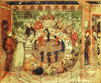 Ο Βασιλιάς Αρθούρος παρουσιάζει τον Σερ Γκάλαχαντ στους Ιππότες της Στρογγυλής Τράπεζας, Ανώνυμου Καλλιτέχνη, περίπου 15ος αιώνας.