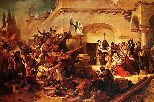Ιερά Μονή Αρκδίου, Ελαιογραφία του ιταλού ζωγράφου Γκαττέρι. 9 Νοεμβρίου 1866, Ο Κωνσταντίνος Γιαμπουδάκης βάζει φωτιά στην πυριτιδαποθήκη και ανατινάζει την ανατολική πτέρυγα της μονής, καταπλακώνοντας Χριστιανούς και Τούρκους.