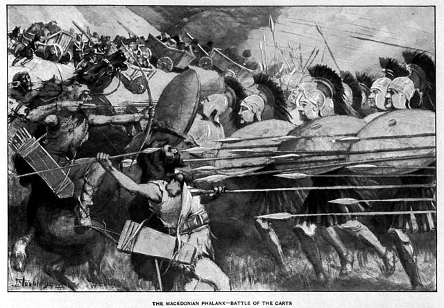 Η Μακεδονική Φάλαγγα - χαρακτηριστικός τρόπος παράταξης μάχης, αρχικά των Μακεδόνων και στη συνέχεια όλων των κρατών των Επιγόνων, επί δύο αιώνες (μέσα 4ου - μέσα 2ου αιώνα π.Χ.)