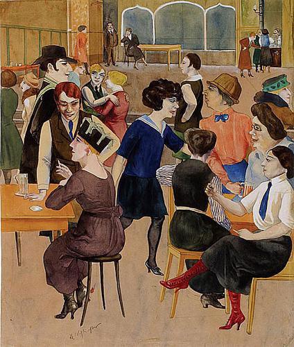 O πίνακας του Rudolf-Schlichter ''Damenknle'' απεικονίζει τον κόσμο των βερολινέζικων καφέ