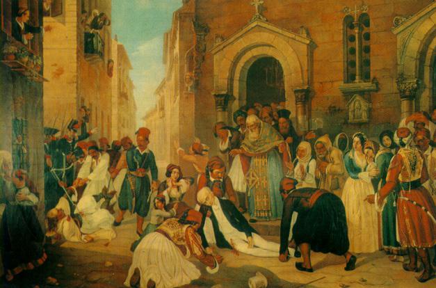 Η δολοφονία του Καποδίστρια πίνακας του Διονύσιου Τσόκου