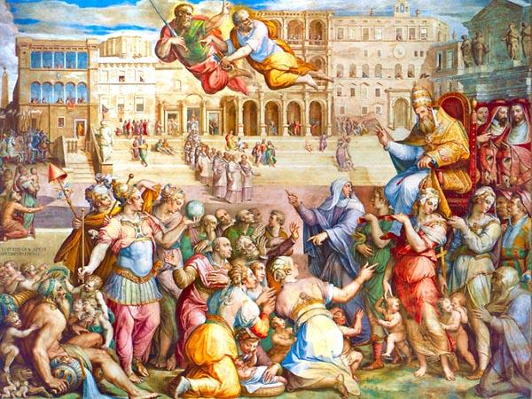 Τζόρτζιο Βασάρι - Η συμμετοχή του Πάπα στο πλευρό του Μεγάλου Κωνσταντίνου, Βασιλική Αίθουσα, Βατικανό