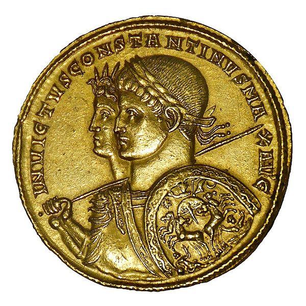 """Χρυσό νόμισμα που απεικονίζει τον """"Ανίκητο Κωνσταντίνο"""" με τον Sol Invictus, 313 π.Χ."""