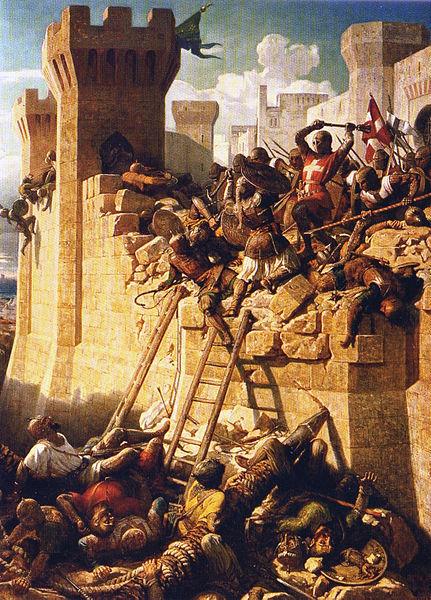 """Ο Μάγιστρος Γκιγιόμ ντε Βιγιέρ υπερασπίζεται τα τείχη της Άκρας. Chateau de Versailles, αναπαραγωγή στο """"Brieve histoire des Ordres Religieux"""", Editions Fragile"""