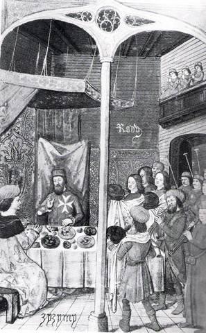 Γεύμα του Μ. Μάγιστρου P. d' Aubusson στον Τούρκο πρίγκητα Τζέμ (1948), (Codex Parisinus Latinus 6067, f.186v. Κόλλιας 1991, 54, εικ.46)
