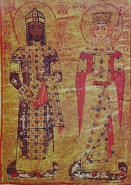 Μικρογραφία χειρογράφου του αυτοκράτορα Μανουήλ Κομνηνού και της αυτοκράτειρας Μαρίας της Αντιοχείας (Βιβλιοθήκη του Βατικανού, Ρώμη)