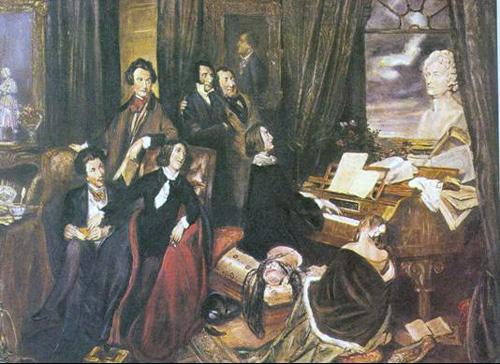 Ο Βίκτωρ Ουγκώ (όρθιος αριστερά) και άλλοι εκπρόσωποι του κινήματος του Ρομαντισμού σε φανταστική απεικόνιση, έργο του Josef Danhauser