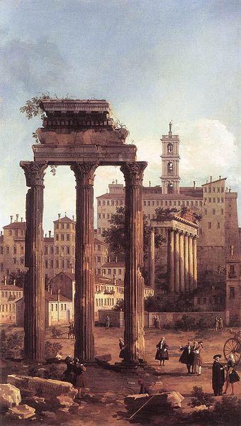 Ρώμη: Τα ερείπια του Φόρουμ προς την πλευρά του Καπιτωλίου. Ελαιογραφία του Giovanni Antonio Canal, γνωστού ως Canaletto. Βασιλική Συλλογή, Κάστρο του Windsor