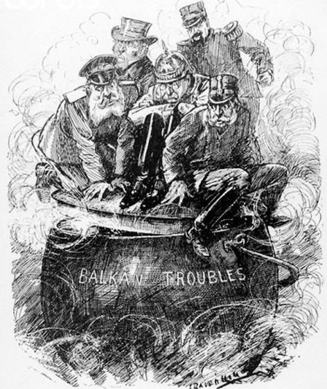 Σατυρική απεικόνιση: το Βαλκανικό καζάνι βράζει, οι ηγεμόνες των Μεγάλων Δυνάμεων παρακολουθούν με τρόμο προσπαθώντας να το συγκρατήσουν. Γελοιογραφία σε βρετανική εφημερίδα της εποχής