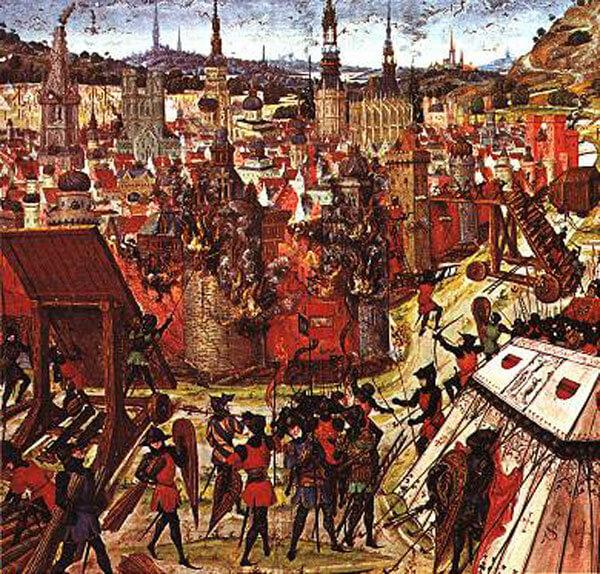 Οι Σταυροφόροι αποδείχθηκαν αριστοτέχνες στην πολιορκητική τέχνη και κατέλαβαν πολλές πόλεις. Στον πίνακα αυτό του 14ου ή 15ου αιώνα απεικονίζεται η κατάληψη της Ιερουσαλήμ από τους πολεμιστές της Α΄ Σταυροφορίας