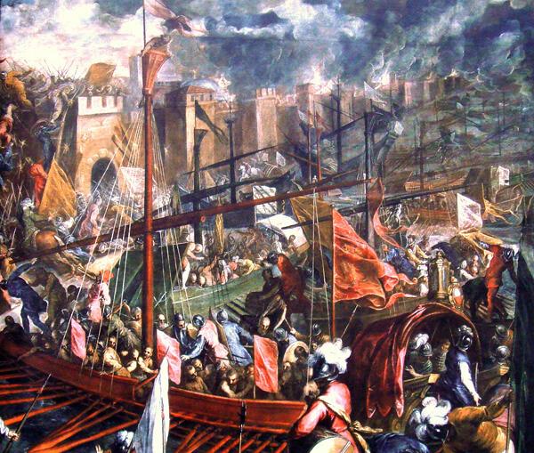 Οι Ενετοί επιτίθενται από την πλευρά του λιμανιού στην Κωνσταντινούπολη, πίνακας του 16ου αιώνα