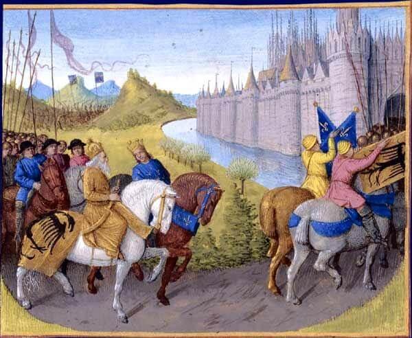 Δυτικοί ηγεμόνες εισέρχονται σε πόλη, μινιατούρα του 13ου αιώνα