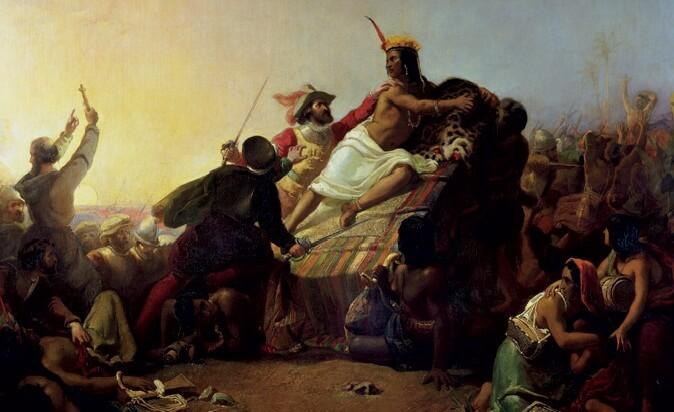 Η σύλληψη του Αταχουάλπα σε πίνακα του 16ου αιώνα