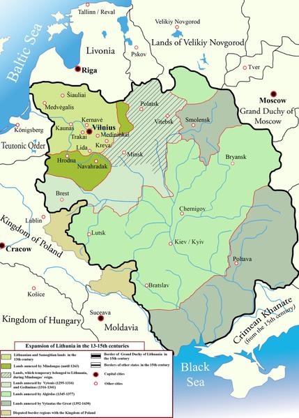 Χάρτης του Λιθουανικού κράτους, απεικονίζονται τα σύνορά του από τον 13ο ως τον 15ο αιώνα