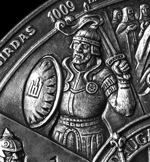 Ο Μέγας Δούκας της Λιθουανίας Algirdas, πρωταγωνιστής της Μάχης των Γαλάζιων Νερών τμήμα από μετάλιο