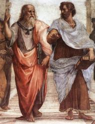 """Πλάτωνας (αριστερά) & Αριστοτέλης (δεξιά), τμήμα της νωπογραφίας """"Η Σχολή των Αθηνών"""" μιας από τις διάσημότερες νωπογραφίες του Ιταλού καλλιτέχνη της Αναγεννησιακής τέχνης, Ραφαήλ (28 Μαρτίου ή 6 Απριλίου 1483 - 6 Απριλίου 1520)"""