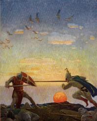 Η μονομαχία μεταξύ Αρθούρου και Μόντρεντ, εικονογραφημένη από τον N.C. Wyeth για το The Boy's King Arthur, 1922