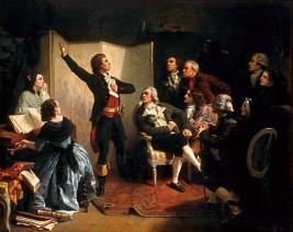 Ο Ρουζέ ντε Λιλ τραγουδάει για πρώτη φορά τη «Μασσαλιώτιδα» στο σαλόνι του δημάρχου Ντίτριχ στο Στρασβούργο.