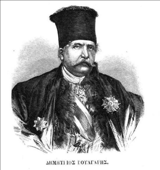 Σκίτσο του Δημήτρη Βούλγαρη από περιοδικό του 1862. Ο Δημήτριος Βούλγαρης (Ύδρα, 20 Δεκεμβρίου 1802 - Αθήνα, 29 Δεκεμβρίου 1877) ήταν Έλληνας πολιτικός του 19ου αιώνα. Διετέλεσε 8 φορές πρωθυπουργός (1855-57, 1862-63 (επαναστατική), 1863-64, 1865, 1866, 1868-69, 1871-72 και 1874-75)