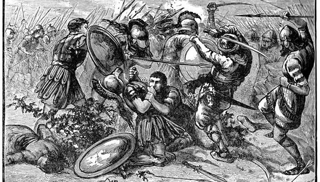 Η μάχη στα Κούναξα σε γαλλική λιθογραφία του 19ου αιώνα.