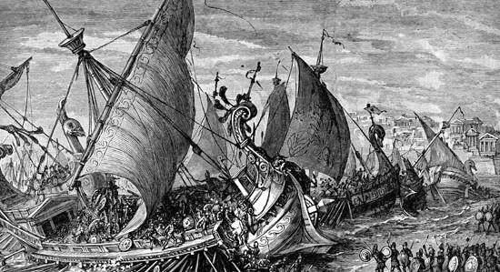 Η ναυμαχία της Σαλαμίνας σε λιθογραφία του 19ου αιώνα.