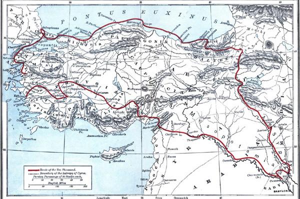 Η πορεία των Μυρίων αποτυπωμένη σε χάρτη.