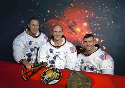 Το αρχικό πλήρωμα του Apollo 13, από αριστερά: Λόβελ, Ματίνγκλυ, Χέηζ
