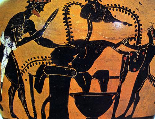 Σκηνή κρεοπωλείου από μελανόμορφη οινοχόη του Γ' αιώνος π.Χ. (Βοστώνη, Μουσείο Καλών Τεχνών)