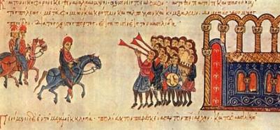 Η θριαμβευτική είσοδος του Νικηφόρου Φωκά στην Κωνσταντινούπολη το 963, δύο χρόνια μετά την ανακατάληψη της Κρήτης (μικρογραφία από το Χρονικό του Ιωάννη Σκυλίτζη, Μαδρίτη, Εθνική Βιβλιοθήκη)