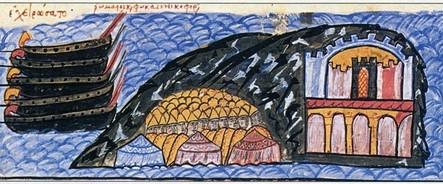 Πολιορκία αραβικού κάστρου στην Κρήτη από τον στρατό του Νικηφόρου Φωκά (μικρογραφία από το Χρονικό του Ιωάννη Σκυλίτζη, Μαδρίτη, Εθνική Βιλιοθήκη)