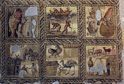 Όλες οι βασικές πηγές τροφής των Βυζαντινών απεικονίζονται έξοχα σε αυτό το θαυμάσιο μωσαϊκό