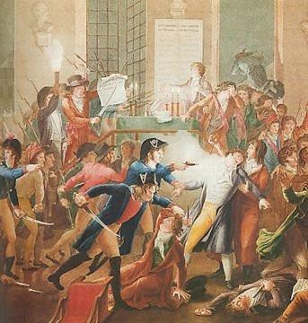Πίνακας του 19ου αιώνα που απεικονίζει τη νύχτα της 9ης Θερμιδώρ και δείχνει τον εθνοφρουρό Merda να πυροβολεί (σύμφωνα με τον ισχυρισμό του) το Ροβεσπιέρο
