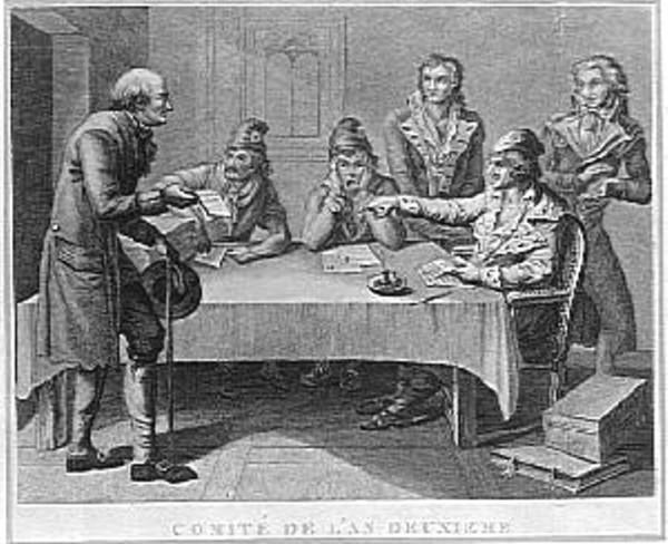 Πίνακας του J.-B. Huet του τέλους του 18ου αιώνα που απεικονίζει μία επαναστατική επιτροπή κάποιου παρισινού τομέα του Έτους ΙΙ