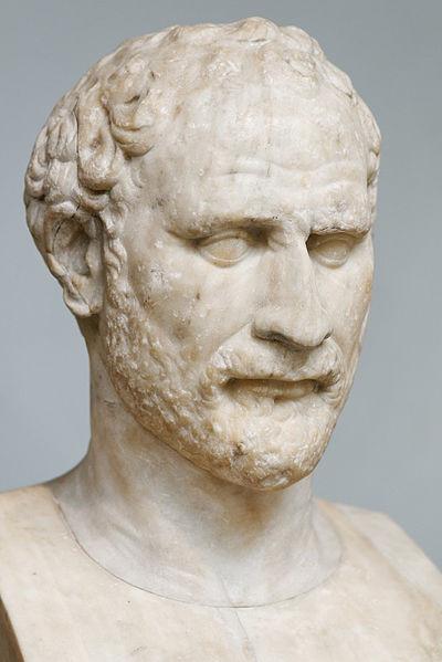 Προτομή του Δημοσθένη (Βρετανικό Μουσείο, Λονδίνο). Ρωμαϊκό αντίγραφο του ελληνικού πρωτοτύπου. Έργο του Πολύευκτου
