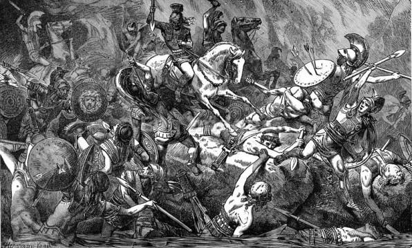 Χαλκογραφία του 19ου αι. αναπαριστά την καταστροφή του αθηναϊκού εκστρατευτικού σώματος στη Σικελία (Η. Vogel)