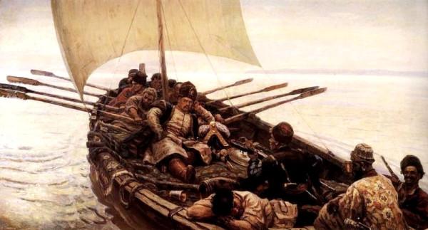 Ο Στένκα Ράζιν πλέοντας στην Κασπία Θάλασσα (έργο του Vasily Surikov, 1906)