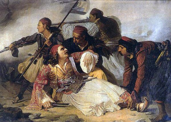Ο θάνατος του Μάρκου Μπότσαρη Πίνακας από τον Ludovico Lipparini, που βρίσκεται στο μουσείο της Τεργέστης στην Ιταλία