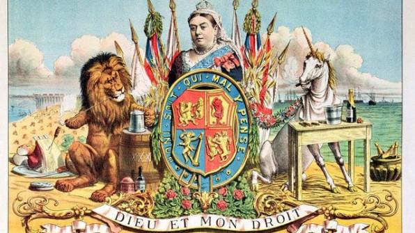 Λαϊκή εικόνα απεικονίζει τη βασίλισσα Βικτωρία περιστοιχισμένη από τα σύμβολα της βρετανικής μοναρχίας, τον λέοντα και τον μονόκερω και τα προϊόντα από τις αποικίες της βρετανικής μοναρχίας