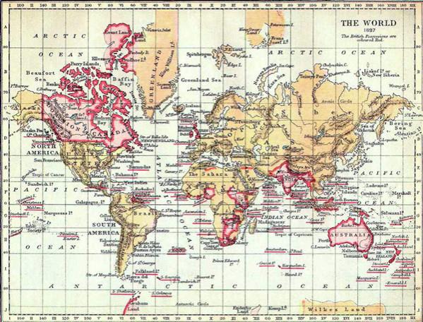 Χάρτης της Βρετανικής Αυτοκρατορίας το 1897