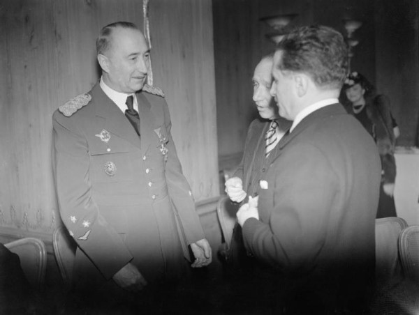 General Dusan Simovic, the Premier of the Yugoslav Government in Exile, talking to guests at a reception in London