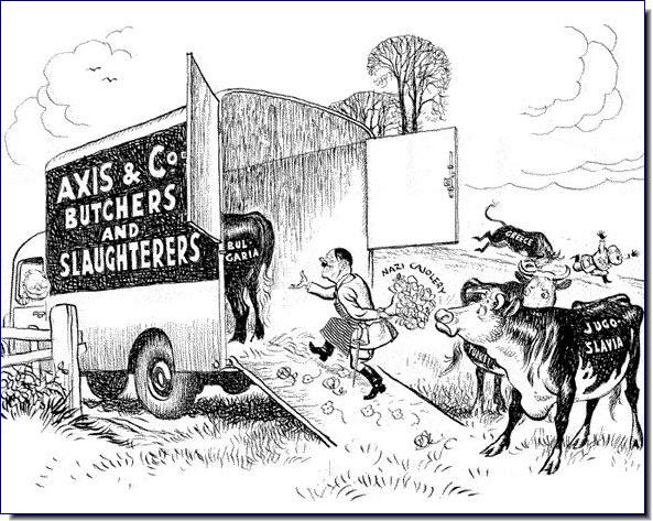 Βρετανική γελοιογραφία διακωμωδεί τα φρικτά σχέδια του Χίτλερ για τους λαούς των Βαλκανίων στις παραμονές της γερμανικής εισβολής τον Απρίλιο του 1941