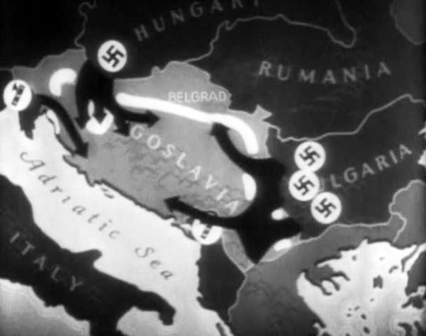 Χάρτης που περιγράφει τις οδούς εισβολής των στρατευμάτων του Άξονα εναντίον της Γιουγκοσλαβίας στις 6 Απριλίου 1941