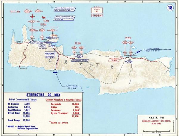 Xάρτης με τις θέσεις των Συμμάχων στην Κρήτη και τα σημεία επίθεσης των Γερμανών αλεξιπτωτιστών
