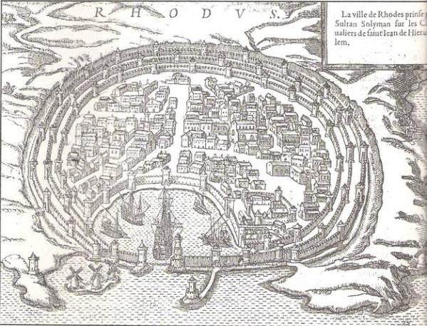 Η πόλη της Ρόδου με τις οχυρώσεις των Ιπποτών (Στεφανίδου 2004, σελ. 78)